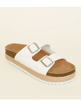 White Buckle Strap Flatform Sandals by New Look