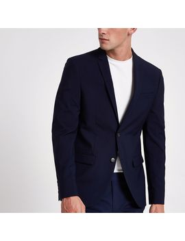 Navy Skinny Suit Jacket by River Island
