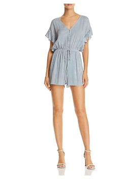 Ruffle Sleeve Striped Romper   100 Percents Exclusive  by Aqua