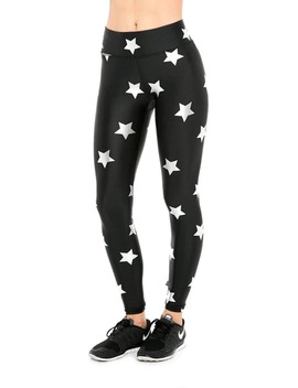 Silver Stars Foil Tall Band Leggings by Terez