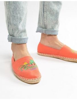 Asos Design Espadrilles In Orange With Embroidery by Asos Design