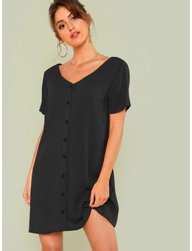 Double V Neckline Shirt Dress by Shein