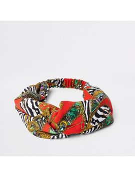 Red Scarf Print Wide Twist Headband by River Island