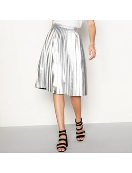 Noisy May   Silver Pleated Midi Skirt by Noisy May