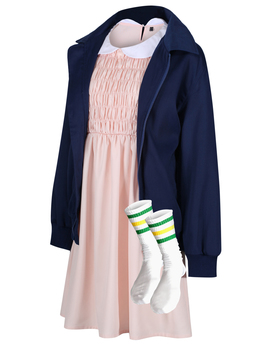 Eleven Jacket, Dress And Socks Stranger Things Costume Cosplay Fancy Dress by The Cosplay Company