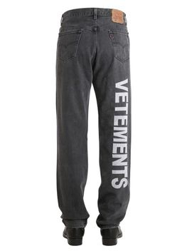 Men's Black Levi's 501 Reworked Embroidered Jeans by Vetements