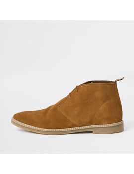Tan Suede Eyelet Desert Boots by River Island