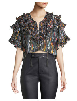 Marble Ruffle Cropped Blouse by Opening Ceremony