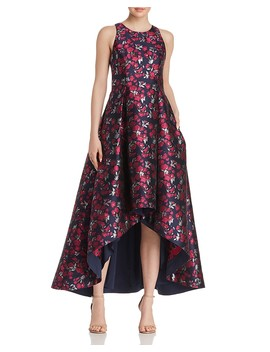 Floral Jacquard High/Low Ball Gown by Aidan By Aidan Mattox