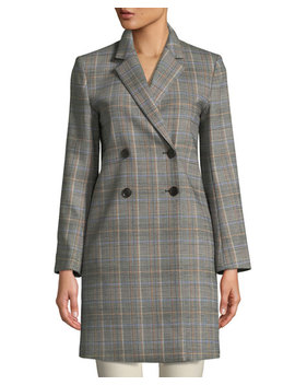 Double Breasted Plaid Wool Coat by Theory