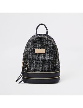 Black Boucle Mini Backpack by River Island