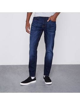 Dark Blue Jimmy Tapered Jeans by River Island