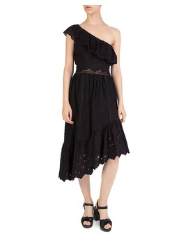 One Shoulder Eyelet Dress by The Kooples