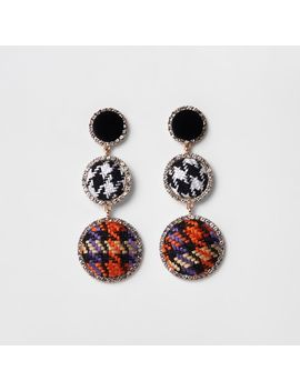Black Check Diamante Boucle Drop Earrings by River Island