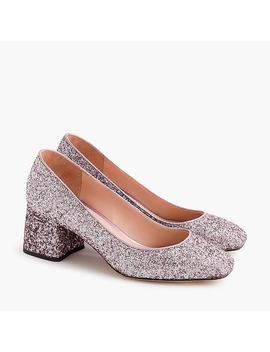 Block Heel Pumps In Glitter by J.Crew