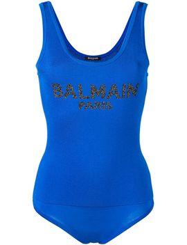 Balmain Bodysuit Mit Logo Home Damen Balmain Kleidung Tops & Tanktops Riemchensandalen Mit Stiletto Absatzdistressed Cropped Jeans Bodysuit Mit Logo by Balmain