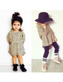 New Cute Baby Kids Girls Party Seven Sleeves Leopard Cotton Shirt Mini Dress by Pudcoco