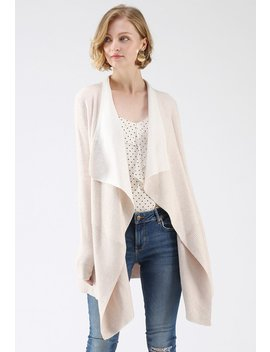 Soft Blush Ribbed Hem Drape Cardigan by Chicwish