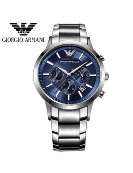 New Emporio Armani Ar2448 Stainless Steel Bracelet Blue Dial Men's Watch Uk by Emporio Armani
