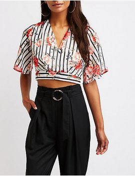Printed Tie Back Crop Top by Charlotte Russe