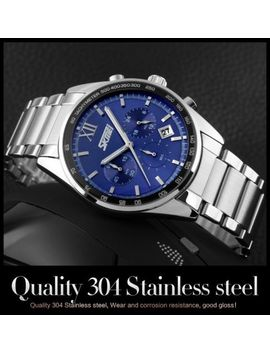 Luxury Men's Stainless Steel Date Quartz Analog Sport Chronograph Wrist Watch by Top Brand