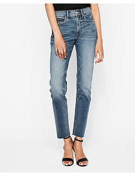 High Waisted Raw Hem Original Vintage Skinny Jeans by Express