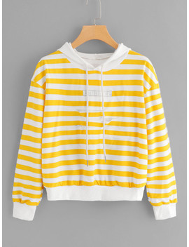 Patch Detail Striped Hoodie by Sheinside