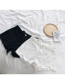 Asymmetric Frayed Denim Shorts by Diyi