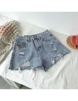 Distressed Denim Shorts by Diyi