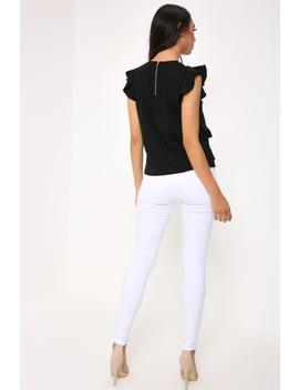 Black Ruffle Sleeve Top by I Saw It First