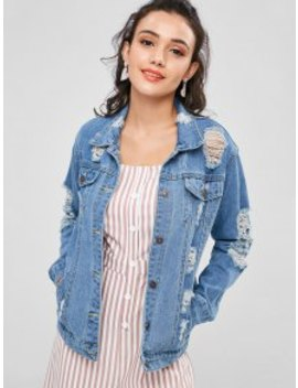 Distressed Denim Jean Jacket   Denim Blue by Zaful