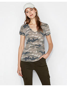 Express One Eleven Camo Burnout V Neck Slim Tee by Express