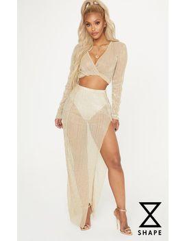 Shape Gold Metallic Pleated Split Leg Maxi Skirt by Prettylittlething