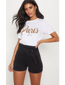 Black D Ring Belted Waist Short by Prettylittlething