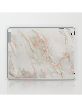 Marble   Rose Gold Marble Metallic Blush Pink Laptop & I Pad Skin by