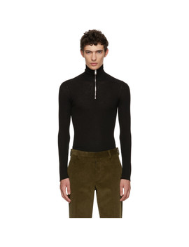Black Zip Up Turtleneck by Prada