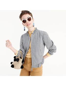 Ruffle Neck Bomber Jacket In Gingham by J.Crew