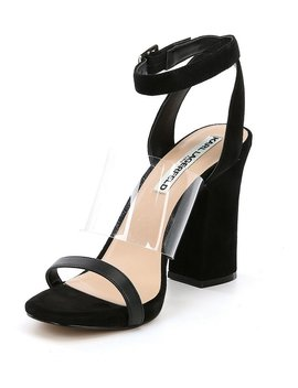 Raya Suede Transparent Vinyl Strap Block Heel Dress Sandals by Generic