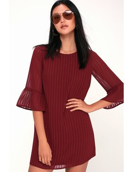 Better Than Ever Wine Red Flounce Sleeve Shift Dress by Lulu's