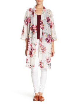 Long Chiffon Floral Print Kimono by Do Everything In Love