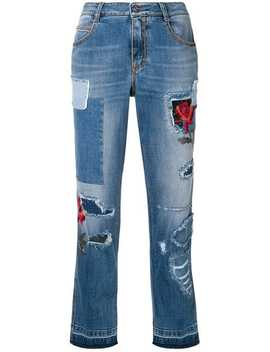Ripped Jeans With Embroidery Details by Ermanno Scervino