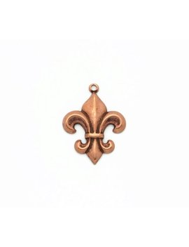 Rose Gold Fleur De Lis Charms, French Brass Charms, 4pcs by Brass Charm Company