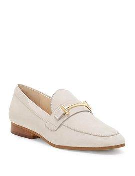 Tatye Nubuck Leather Gold Bit Embellishment Block Heel Loafers by Generic