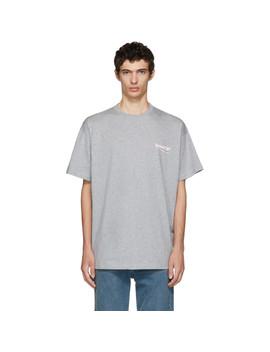 T Shirt Gris Campaign Logo by Balenciaga