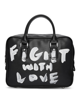 Black Faux Leather Hand Painted Bag by Comme Des GarÇons Girl