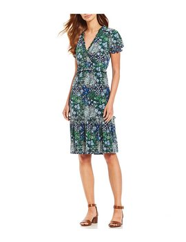 Paisley Remix Print Ruffle Trim And Smocking Detail Midi Dress by Generic