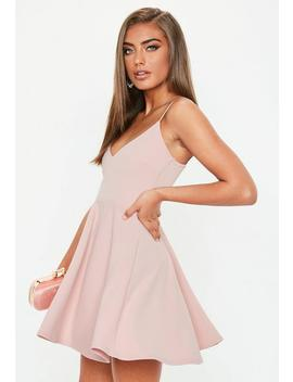 Petite Pink Strappy Scuba Skater Dress by Missguided