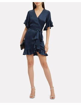 Silk Ruffle Wrap Mini Dress by Nightcap Clothing