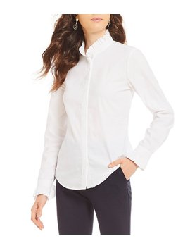 Josie Novelty Shirting Ruffle Blouse by Generic