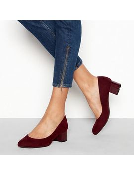 Good For The Sole   Dark Red Suedette 'gianni' Mid Block Heel Wide Fit Court Shoes by Good For The Sole